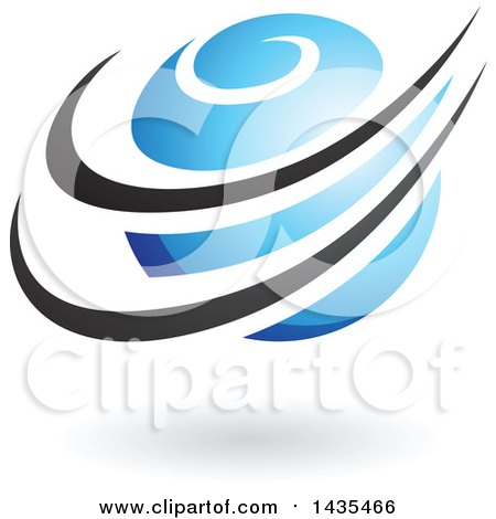 Clipart of a Blue Orbital Planet with Black Rings and a Shadow - Royalty Free Vector Illustration by cidepix