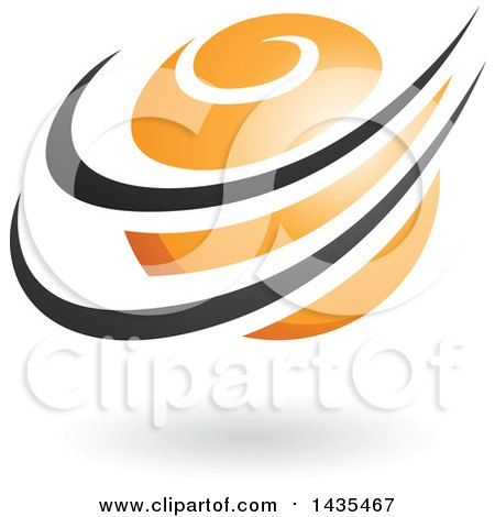 Clipart of an Orange Orbital Planet with Black Rings and a Shadow - Royalty Free Vector Illustration by cidepix