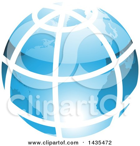 Clipart of a Blue Grid Earth Globe - Royalty Free Vector Illustration by cidepix