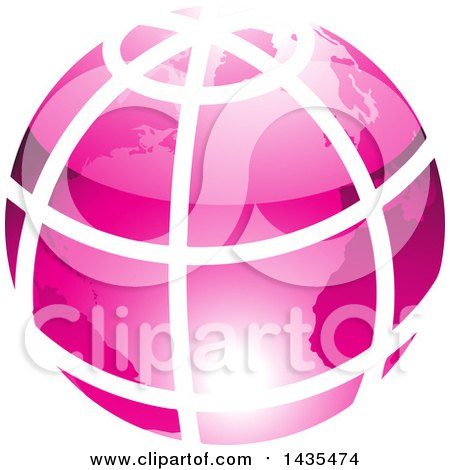 Clipart of a Pink Grid Earth Globe - Royalty Free Vector Illustration by cidepix
