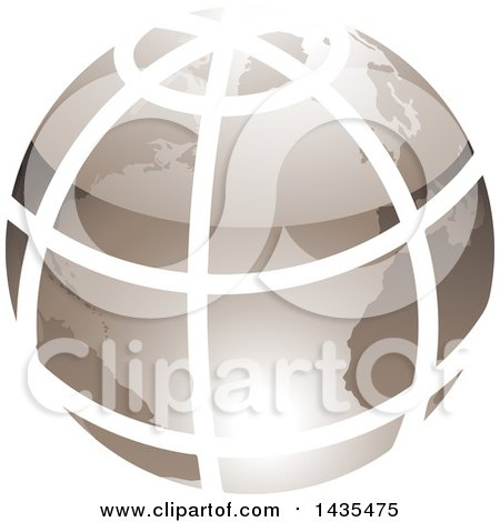 Clipart of a Grid Earth Globe - Royalty Free Vector Illustration by cidepix