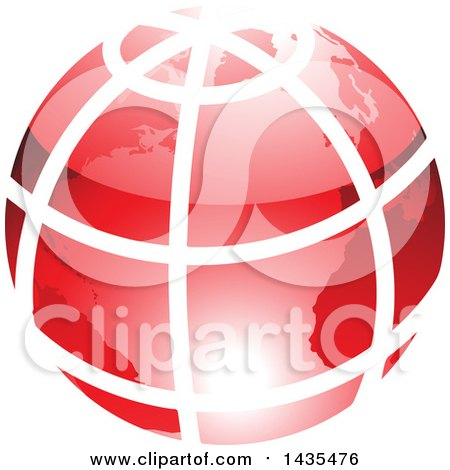 Clipart of a Red Grid Earth Globe - Royalty Free Vector Illustration by cidepix