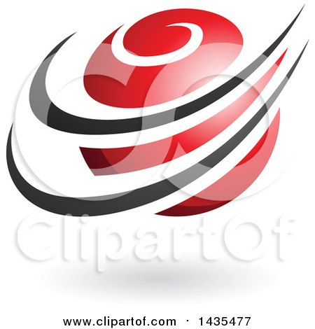 Clipart of a Red Orbital Planet with Black Rings and a Shadow - Royalty Free Vector Illustration by cidepix