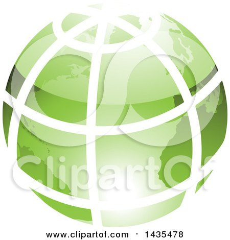 Clipart of a Green Grid Earth Globe - Royalty Free Vector Illustration by cidepix