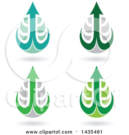 Clipart of Floating Abstract Waterdrops with Arrow Hooks and Shadows - Royalty Free Vector Illustration by cidepix