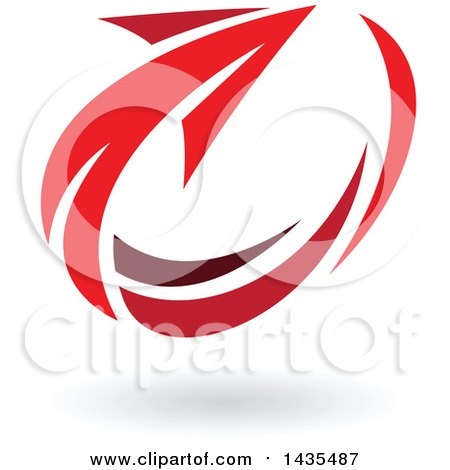 Clipart of a Red Circling Arrow and Shadow - Royalty Free Vector Illustration by cidepix