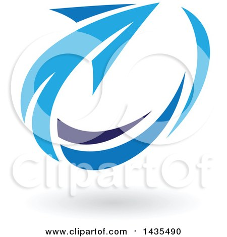 Clipart of a Blue Circling Arrow and Shadow - Royalty Free Vector Illustration by cidepix