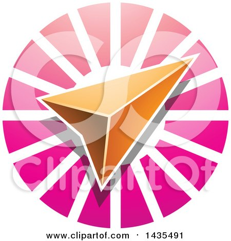 Clipart of a Navigation Arrow over a Pink Circle - Royalty Free Vector Illustration by cidepix