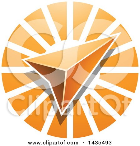 Clipart of a Navigation Arrow over an Orange Circle - Royalty Free Vector Illustration by cidepix
