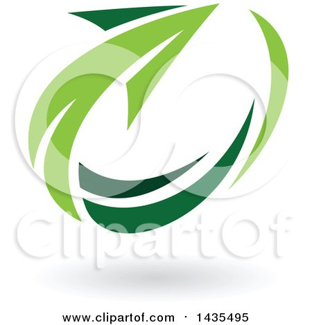 Clipart of a Green Circling Arrow and Shadow - Royalty Free Vector Illustration by cidepix