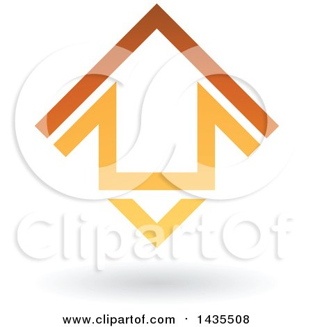 Clipart of a Floating Abstract House Arrow Icon and Shadow - Royalty Free Vector Illustration by cidepix