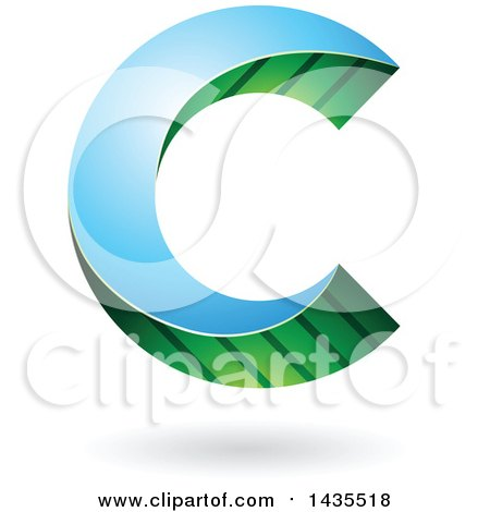Clipart of a Skewed Letter C Design with a Shadow - Royalty Free Vector Illustration by cidepix
