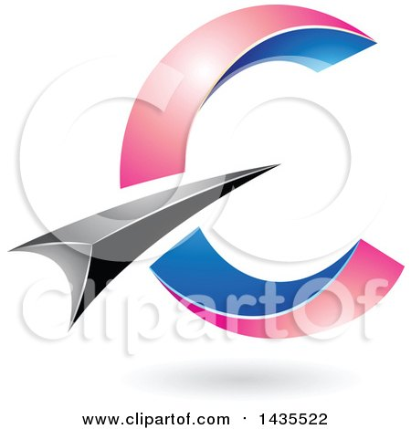 Clipart of an Abstract Black, Blue and Pink Letter C Design, with a Shadow - Royalty Free Vector Illustration by cidepix