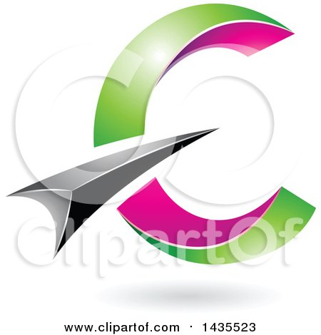 Clipart of an Abstract Black, Green and Pink Letter C Design, with a Shadow - Royalty Free Vector Illustration by cidepix