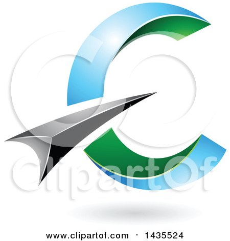 Clipart of an Abstract Black, Blue and Green Letter C Design, with a Shadow - Royalty Free Vector Illustration by cidepix