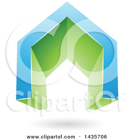 Clipart of a 3d Floating Abstract Blue and Green House or Gate Design with a Shadow - Royalty Free Vector Illustration by cidepix