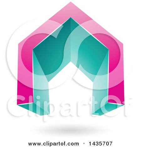 Clipart of a 3d Floating Abstract Pink and Turquoise House or Gate Design with a Shadow - Royalty Free Vector Illustration by cidepix