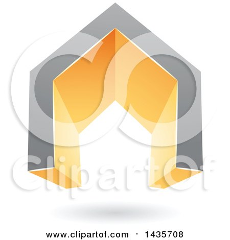 Clipart of a 3d Floating Abstract Gray and Orange House or Gate Design with a Shadow - Royalty Free Vector Illustration by cidepix
