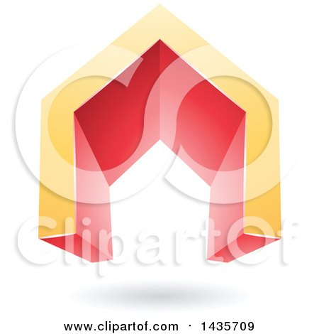 Clipart of a 3d Floating Abstract Yellow and Red House or Gate Design with a Shadow - Royalty Free Vector Illustration by cidepix