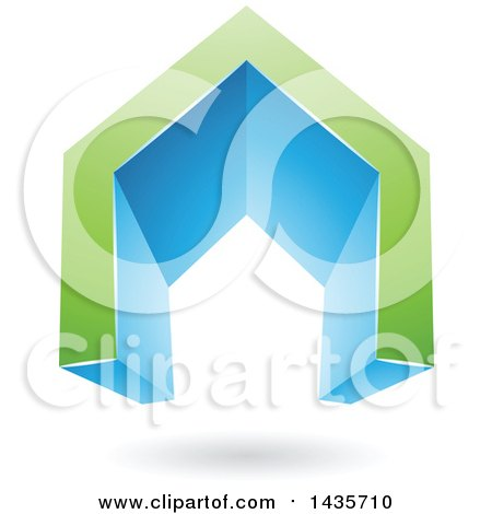 Clipart of a 3d Floating Abstract Green and Blue House or Gate Design with a Shadow - Royalty Free Vector Illustration by cidepix