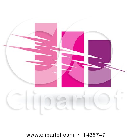 Clipart of a Pink and Purple Bar Graph - Royalty Free Vector Illustration by cidepix