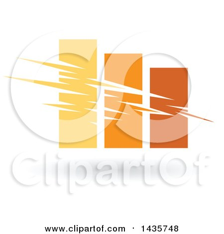 Clipart of a Yellow and Orange Bar Graph - Royalty Free Vector Illustration by cidepix