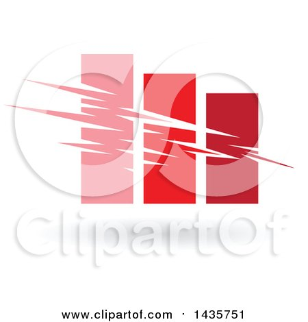 Clipart of a Pink and Red Bar Graph - Royalty Free Vector Illustration by cidepix
