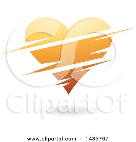 Clipart of a Floating Orange Heart with Slits - Royalty Free Vector Illustration by cidepix