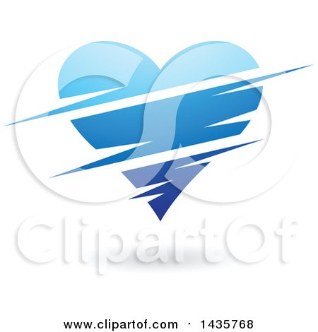 Clipart of a Floating Blue Heart with Slits - Royalty Free Vector Illustration by cidepix