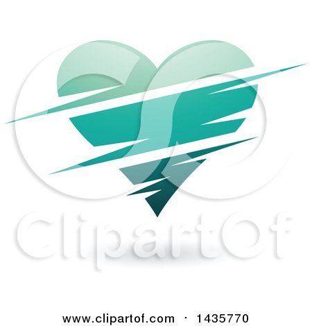 Clipart of a Floating Turquoise Heart with Slits - Royalty Free Vector Illustration by cidepix
