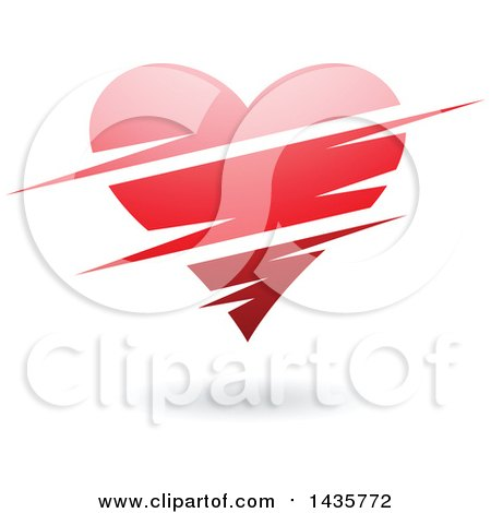 Clipart of a Floating Red Heart with Slits - Royalty Free Vector Illustration by cidepix