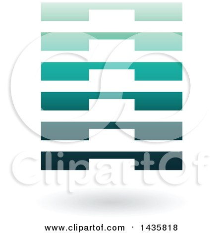 Clipart of a Floating Abstract Rectangle with Layers and a Shadow - Royalty Free Vector Illustration by cidepix