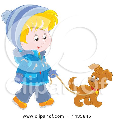 Clipart of a Cartoon Blond White Boy Wearing a Winter Coat and Walking a Puppy Dog - Royalty Free Vector Illustration by Alex Bannykh