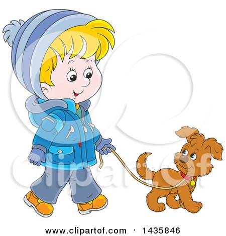 Clipart of a Cartoon Blond Caucasian Boy Wearing a Winter Coat and Walking a Puppy Dog - Royalty Free Vector Illustration by Alex Bannykh
