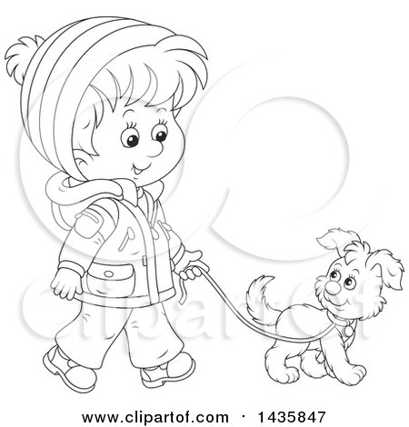 Clipart of a Cartoon Black and White Lineart Boy Wearing a Winter Coat and Walking a Puppy Dog - Royalty Free Vector Illustration by Alex Bannykh