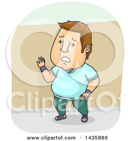 Clipart of a Cartoon Overweight Brunette Caucasian Man Sweatying and Taking a Break While Working out - Royalty Free Vector Illustration by BNP Design Studio