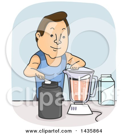 Clipart of a Cartoon Brunette Caucasian Man Making a Post or Pre Workout Whey Protein Smoothie - Royalty Free Vector Illustration by BNP Design Studio