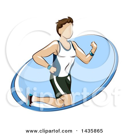 Clipart of a Fit Brunette Caucasian Man Running in a Blue Oval - Royalty Free Vector Illustration by BNP Design Studio