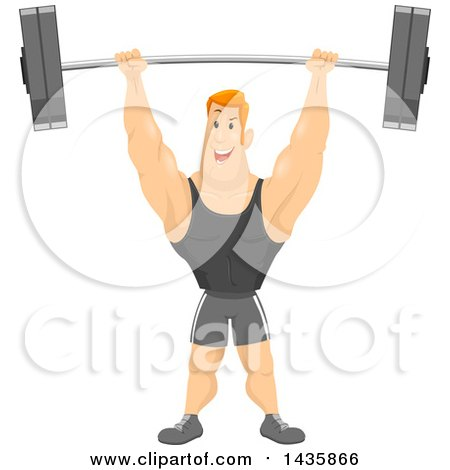 Clipart of a Strong Muscular Red Haired Caucasian Man Lifting a Barbell over His Head - Royalty Free Vector Illustration by BNP Design Studio