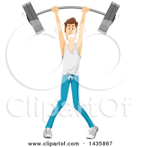 Clipart of a Skinny Brunette Caucasian Man Struggling and Lifting a Barbell over His Head - Royalty Free Vector Illustration by BNP Design Studio