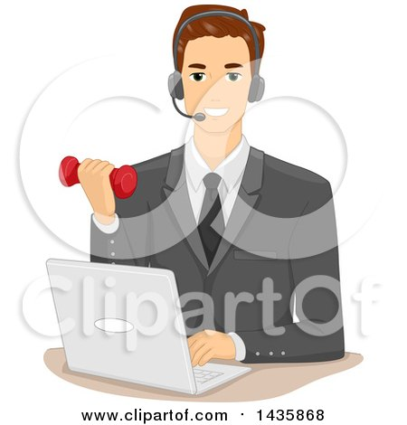 Clipart of a Brunette Caucasian Businessman Wearing a Headset in Front of a Laptop and Working out with a Dumbbell - Royalty Free Vector Illustration by BNP Design Studio