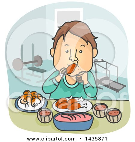 Clipart of a Cartoon Brunette White Man Pigging out on Food After a Workout - Royalty Free Vector Illustration by BNP Design Studio