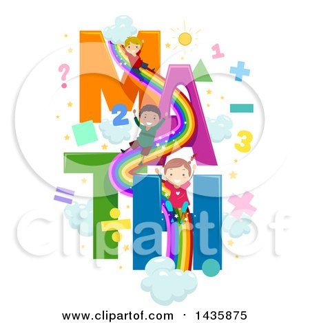 Clipart of School Children on a Math Rainbow Slide - Royalty Free Vector Illustration by BNP Design Studio
