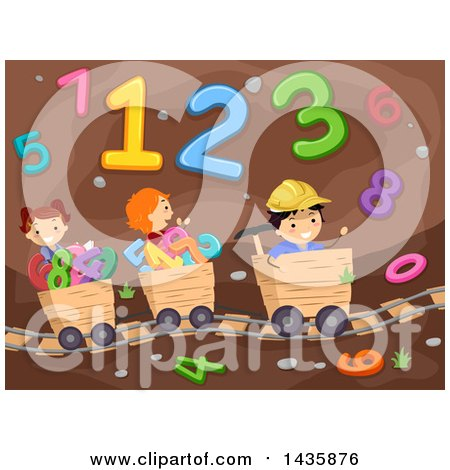 Clipart of School Children Riding Mining Carts Through a Number Cave - Royalty Free Vector Illustration by BNP Design Studio