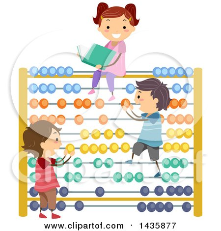 Clipart of School Children Playing on an Abacus - Royalty Free Vector Illustration by BNP Design Studio
