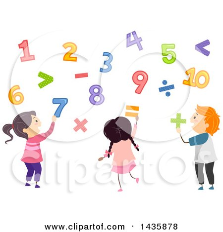 Clipart of School Children Playing with Numbers - Royalty Free Vector Illustration by BNP Design Studio