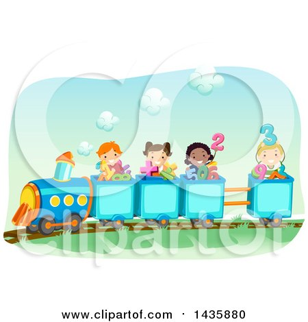School Children Riding a Train with Math Symbols and Numbers Posters ...