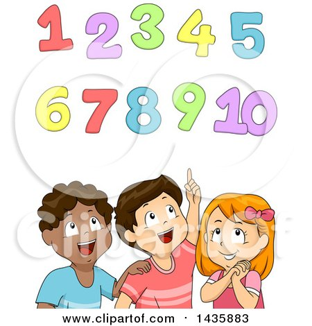 Clipart of School Children Looking up at Numbers - Royalty Free Vector Illustration by BNP Design Studio