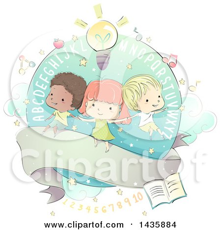 Clipart of Sketched School Children over a Ribbon with Alphabet Letters and School Icons - Royalty Free Vector Illustration by BNP Design Studio