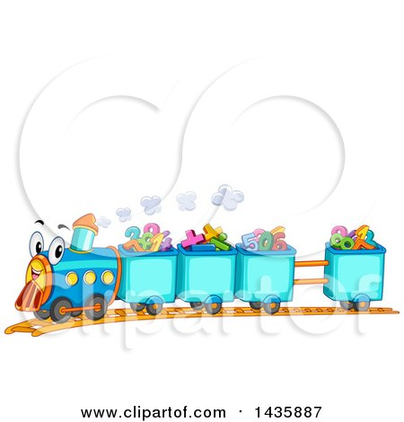 Clipart of a Happy Train with Cars Full of Numbers and Math Symbols - Royalty Free Vector Illustration by BNP Design Studio